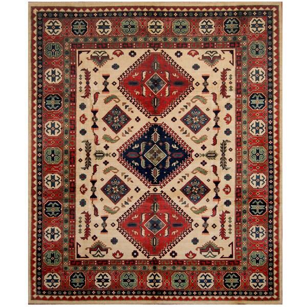 Herat Oriental Afghan Hand-knotted Tribal Kazak Wool Rug (8'5 x 9'10)