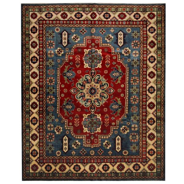 Handmade Herat Oriental Afghan Tribal Kazak Wool Rug - 8'2 x 9'8 (Afghanistan)