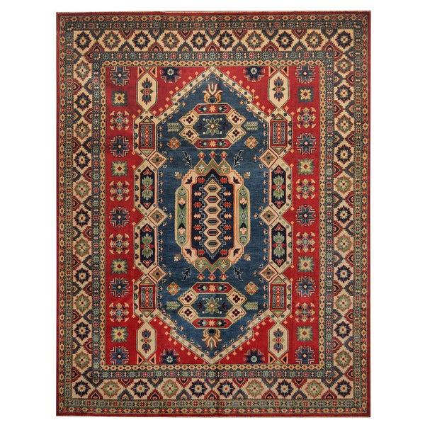Handmade Herat Oriental Afghan Tribal Kazak Wool Rug - 8'2 x 10'6 (Afghanistan)