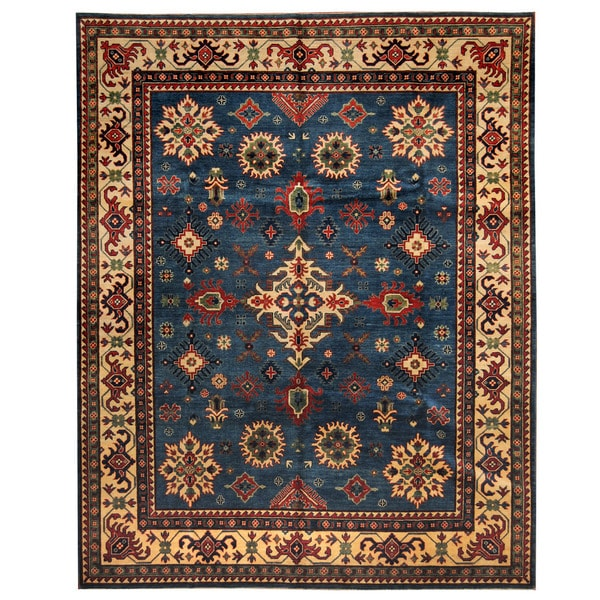 Handmade Herat Oriental Afghan Tribal Kazak Wool Rug - 8' x 9'10 (Afghanistan)