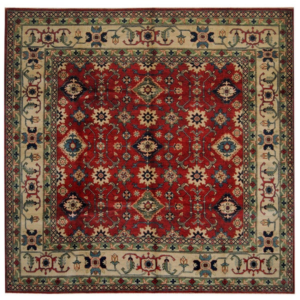 Herat Oriental Afghan Hand-knotted Tribal Kazak Wool Rug (8'2 x 8'4)