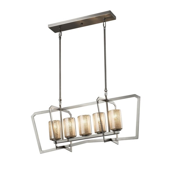 Justice Design Group Fusion Aria 5-light Brushed Nickel Chandelier, Mercury Cylinder - Flat Rim Shade - Silver
