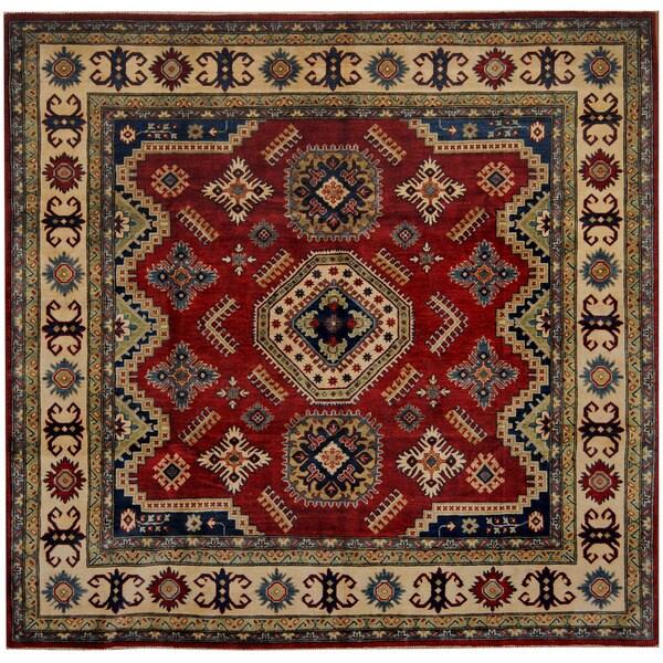 Handmade Herat Oriental Afghan Tribal Kazak Wool Rug - 8'1 x 8' (Afghanistan)