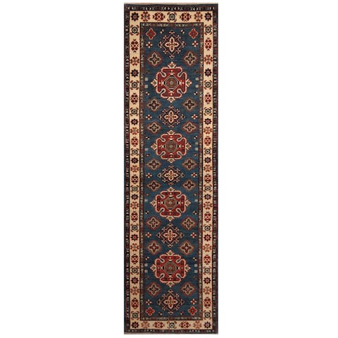 Handmade One-of-a-Kind Kazak Wool Runner (Afghanistan) - 2'8 x 9'9