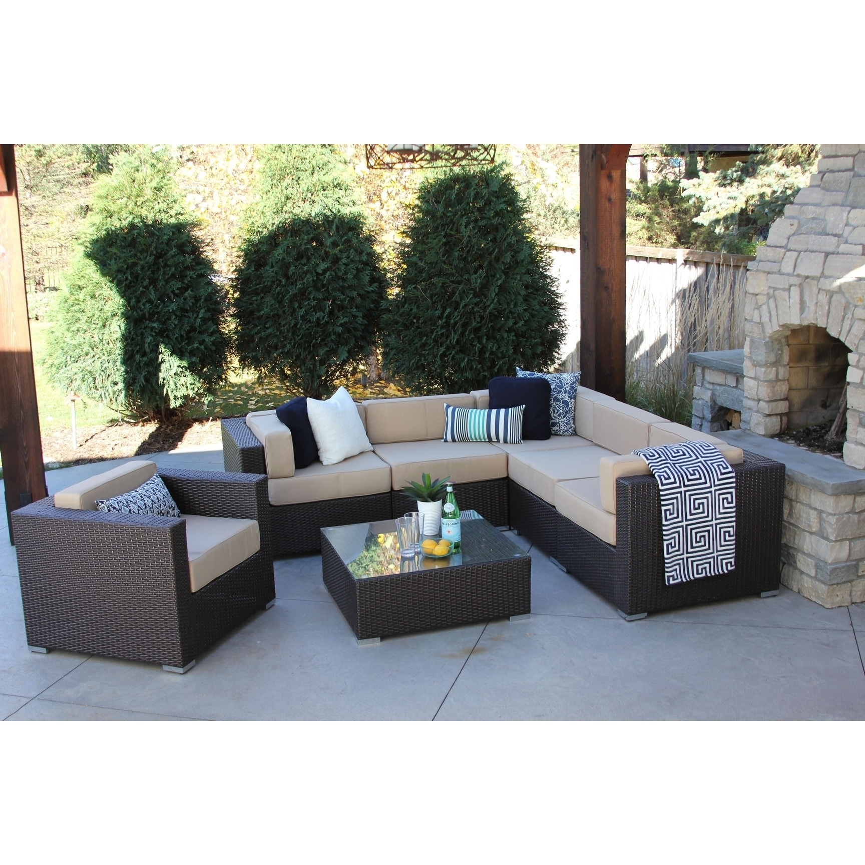 Alexandra 7 pc modern outdoor rattan patio furniture sofa set modular
