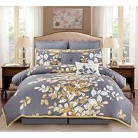 Wonder Home Mila 8PC Embellished Comforter Set, King, Grey