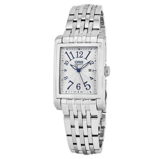 Oris Women's 561 7656 4061 MB 'Rectangular' Silver Dial Stainless Steel Date Swiss Automatic Watch