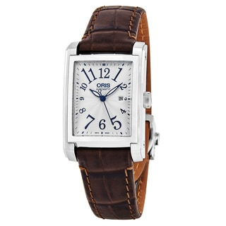 Oris Women's 561 7656 4061 LS 'Rectangular' Silver Dial Brown Leather Strap Date Swiss Automatic Watch