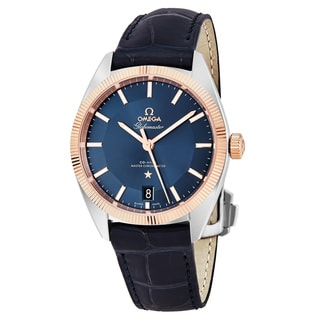 Omega Men's 130.23.39.21.03.001 'Constellation Globe Master' Blue Dial Blue Leather Strap Swiss Automatic Watch