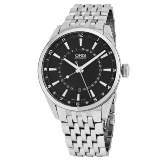 Oris Men's 761 7691 4054 MB 'Artix Pointer' Black Dial Stainless Steel Moon phase Swiss Automatic Watch