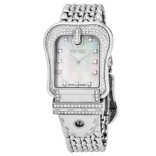 Fendi Women's F386140PC1 'B. Fendi' Mother of Pearl Diamond Dial Stainless Steel Swiss Quartz Watch