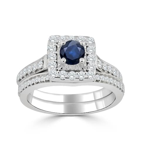 Auriya 2/5ct Round Blue Sapphire and Halo Diamond Engagement Ring Set 14k Gold
