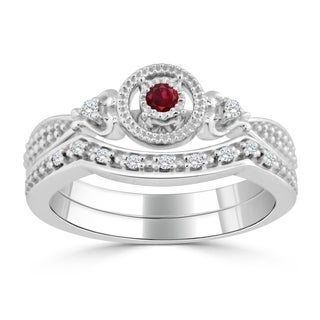 Auriya 14k White Gold 1/8ct Ruby and 1/8ct TDW Round Diamond Bridal Ring Set - Red