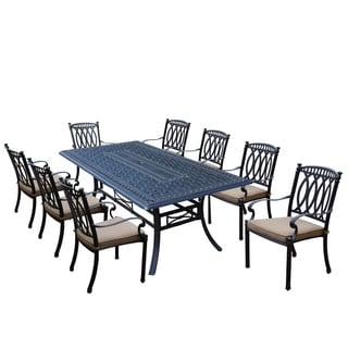 Milan 9 Piece Dining Set with Rectangular Table and 8 Stackable Cushioned Chairs