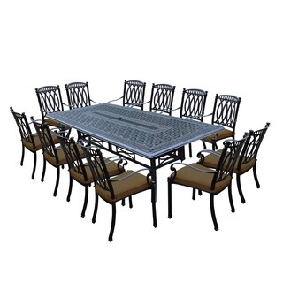 Milan 13 Piece Dining Set with 102x46-inch Table and 12 Stackable Sunbrella Cushioned Chairs