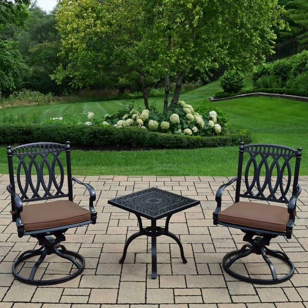 Shop 3 Pc Chat Set With Side Table And 2 Sunbrella Cushioned Swivel