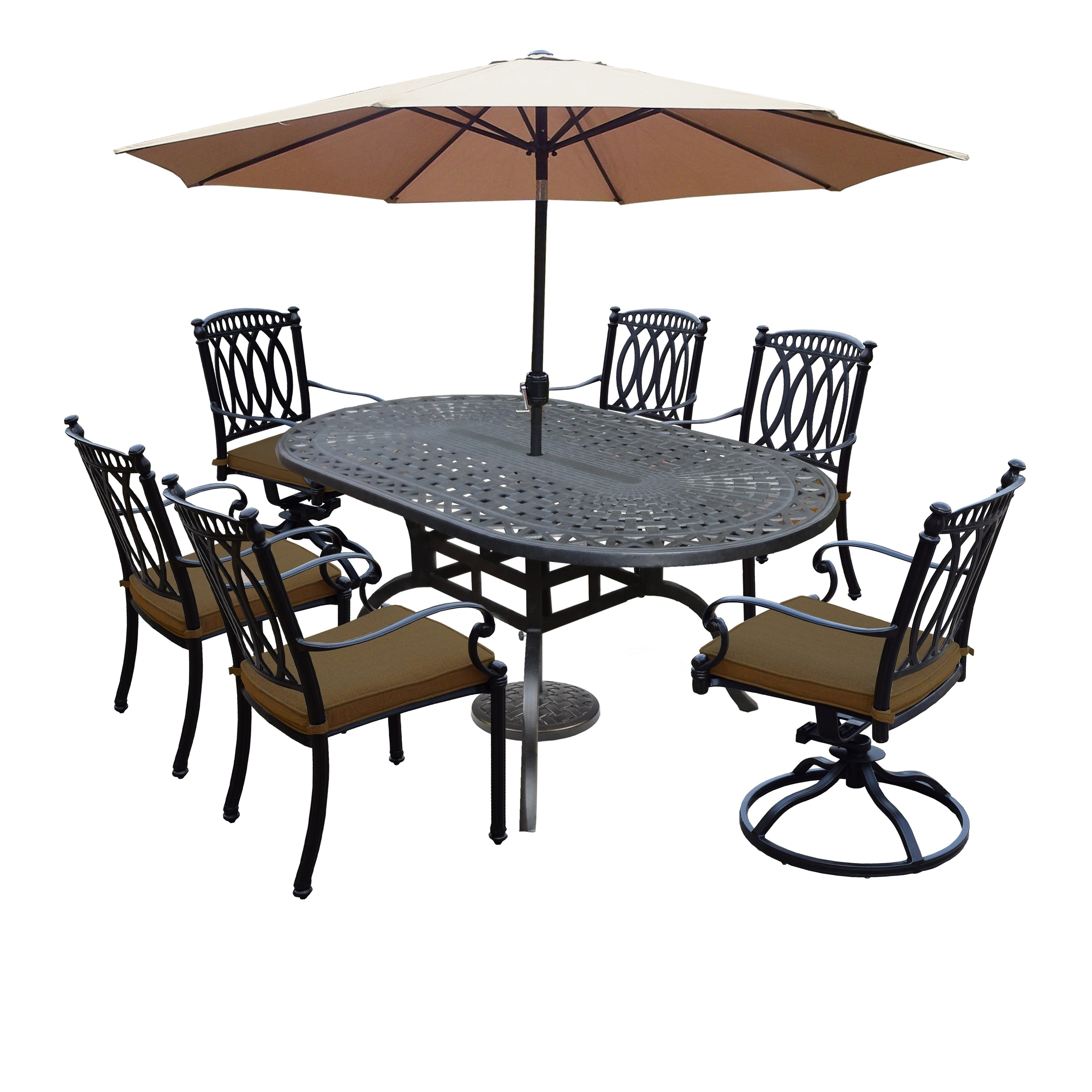 Milan 9 Piece Set with Table, Sunbrella Cushioned (4) Cha...