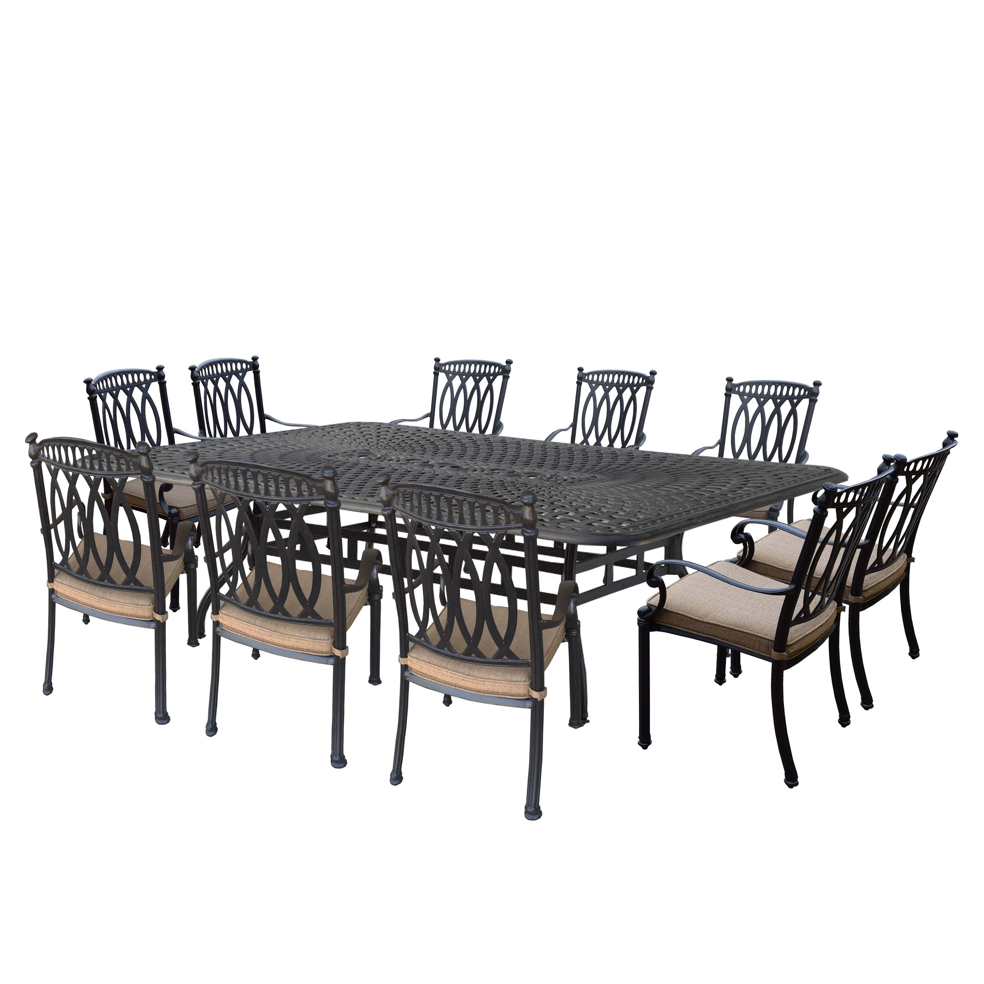 Milan 11 Pc Dining Set with Rectangular Table and 10 Stac...