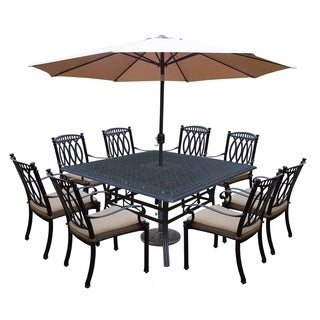 11 Piece Dining Set with Square Table, 8 Stackable, Welded Cushioned Dining Chairs, 9 ft Umbrella & Cast Stone Stand & Weight