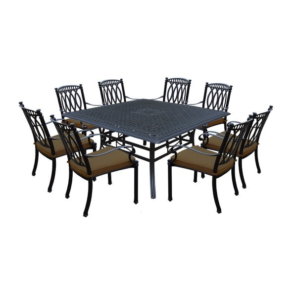 Shop Cast Aluminum 9 Piece Dining Set With 60 Inch Square