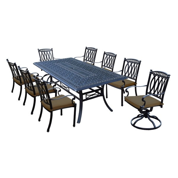 Milan 9 Piece Cast Aluminum Dining Set With Rectangular Table, 6 Stackable  Chairs, 2