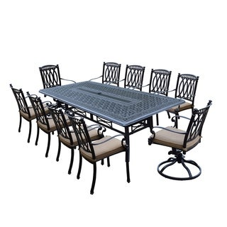11 Piece Milan Set with Table, 8 Stackable Chairs and 2 Swivel Rockers Complete With Cushions