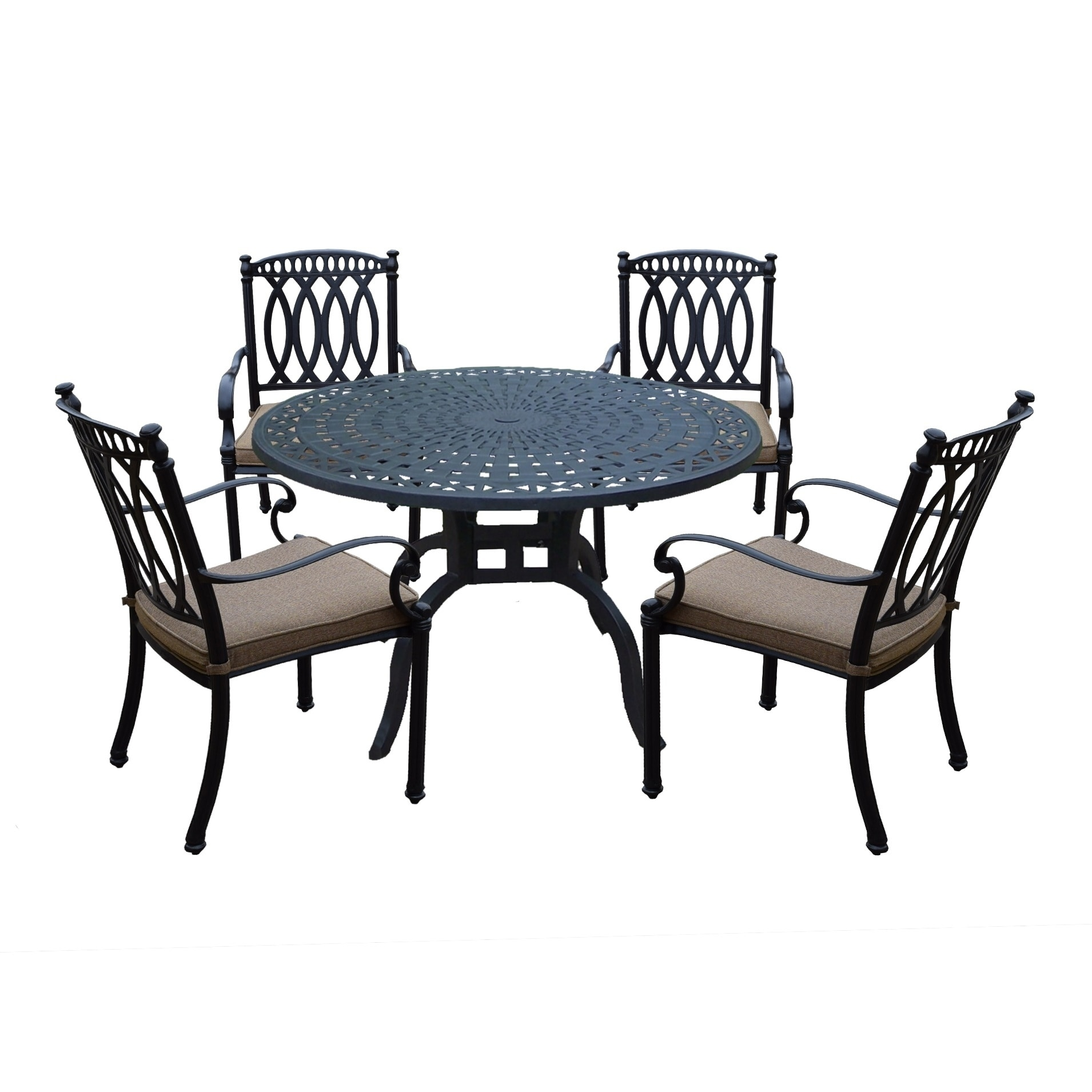 Details About Milan Aluminum 5 Piece Dining Set With 48 Inch Round Dining  Table And 4 Fully