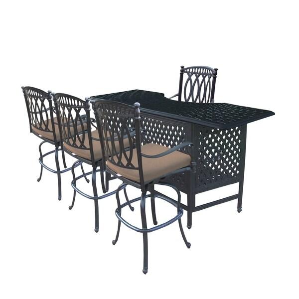 shop millan 5 pc cast aluminum bar set with table and 4 sunbrella