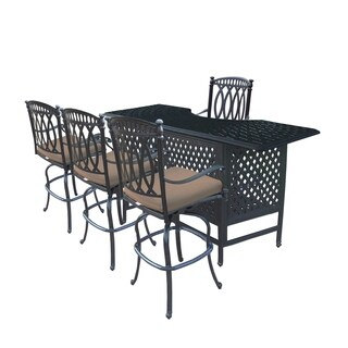 Millan 5 Pc Cast Aluminum Bar Set with Table and 4 Sunbrella Cushioned Swivel Bar Stools