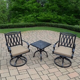 3 Piece Chat Set with Side Table and 2 Cushioned Swivel Rockers