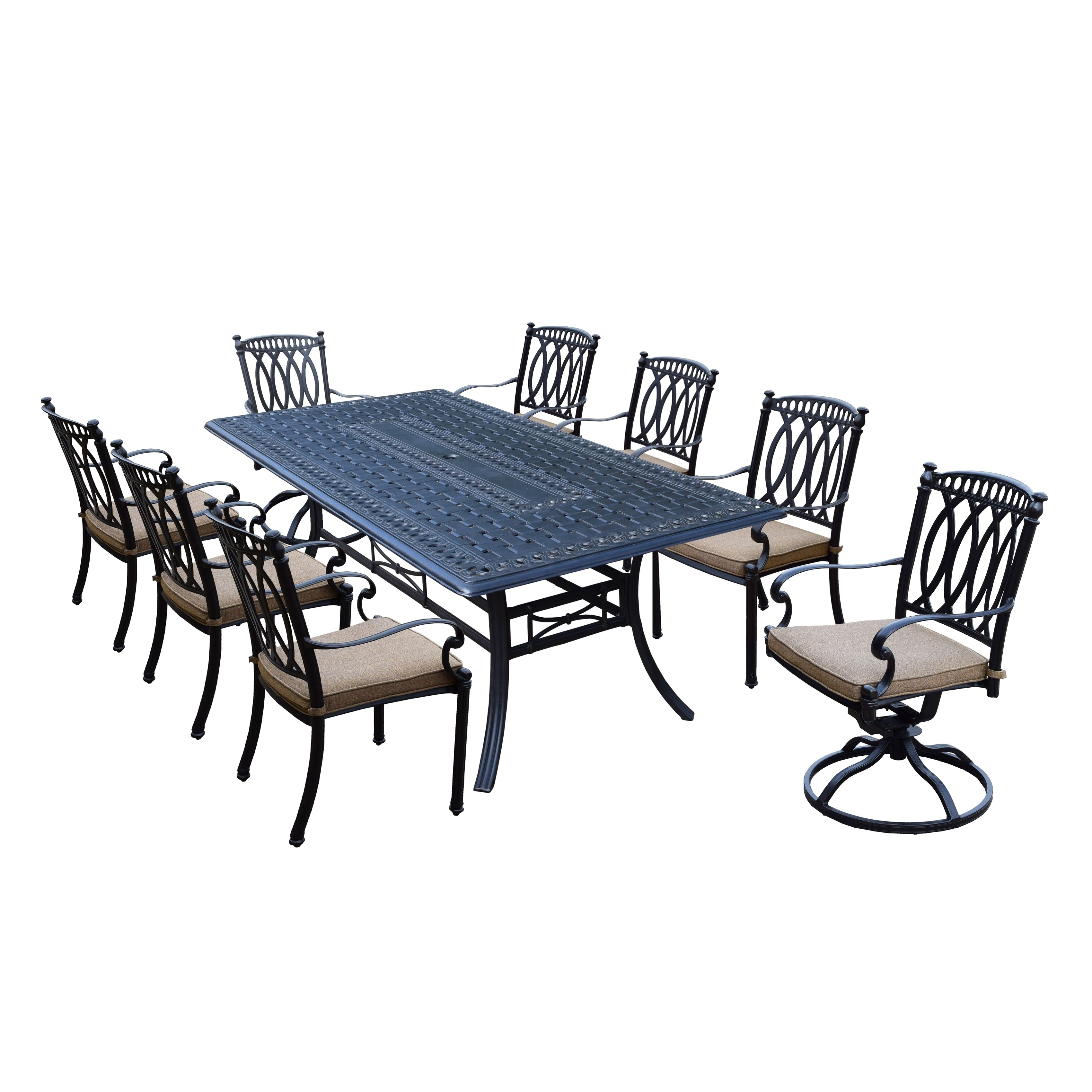 Details About Milan 9 Piece Cast Aluminum Dining Set With Rectangular Table 6 Stackable