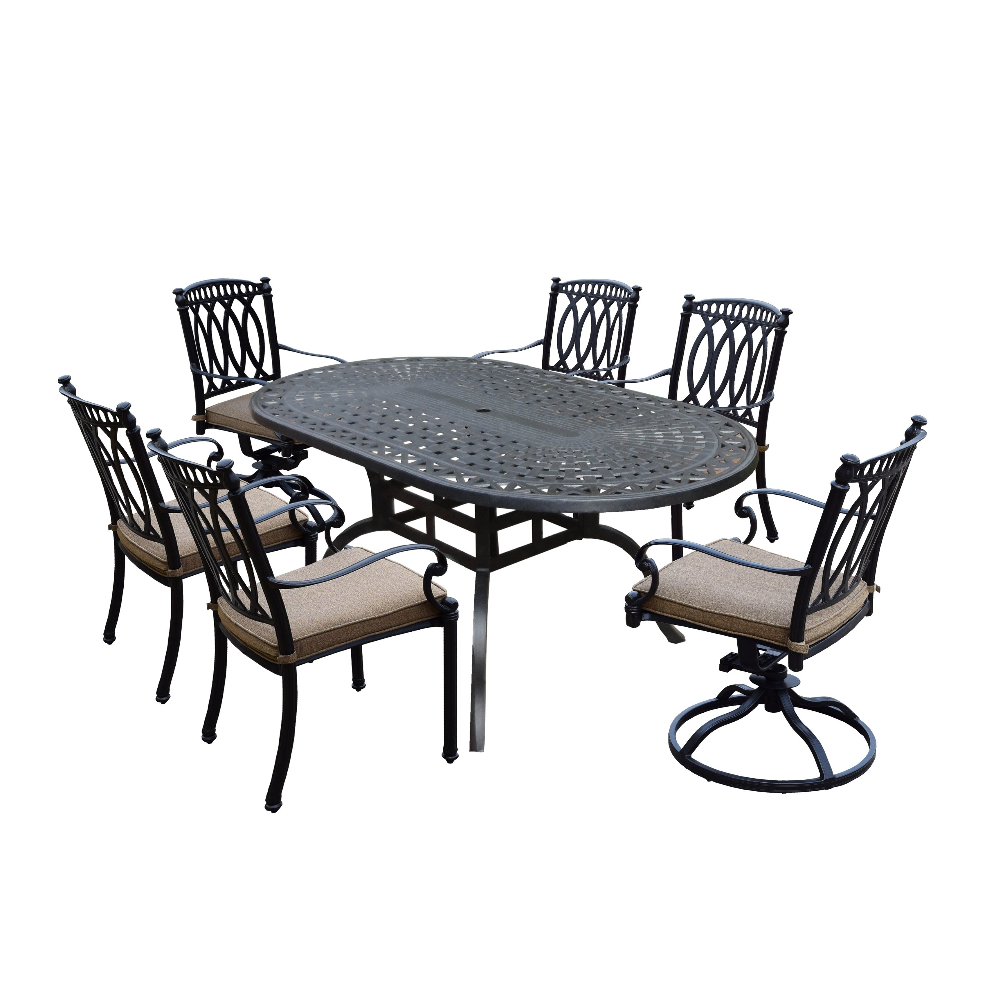 Milan 7 Piece Set With Oval Table 4 Cushioned And Stackable Chairs And 2 Swivel Rockers