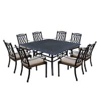 Milan Cast Aluminum 9 Piece Dining Set with Square Table and 8 Completely Welded Stackable Cushioned Dining Chairs