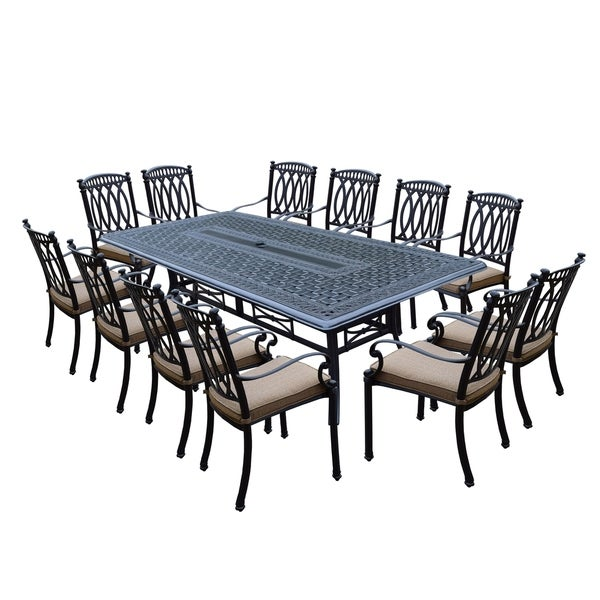 Milan 13 Piece Dining Set With 102x46 Inch Table And 12 Stackable Cushioned Chairs