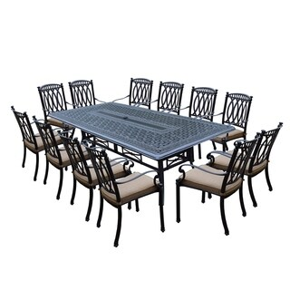 Milan 13 Piece Dining Set with 102x46-inch Table and 12 Stackable Cushioned Chairs