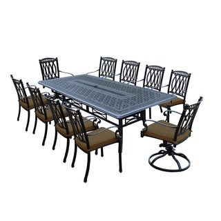 Milan 11 Piece Dining Set With 102x46 Inch Table, 8 Chairs And 2 Swivel