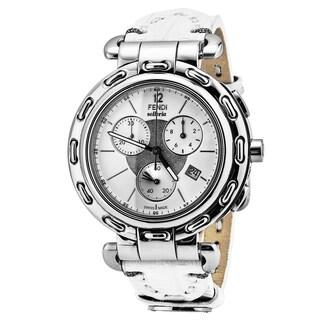 Fendi Women's F89034H.TS04S 'Selleria' White Dial White Leather Strap Chronograph Swiss Quartz Watch
