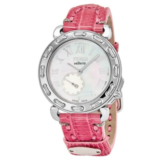 Fendi Women's F81034H.TSN07S 'Selleria' Mother of Pearl Dial Pink Leather Strap Small Seconds Swiss Quartz Watch