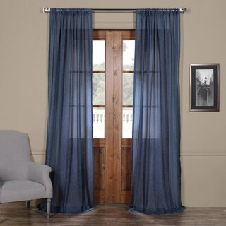 """Exclusive Fabrics Faux Linen Sheer Curtain Panel in Blue Lapis - 96""""L (As Is Item)"""