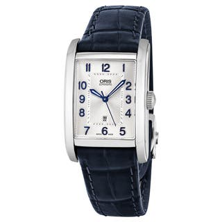 Oris Men's 561 7693 4031 LS 'Rectangular' Silver Dial Blue Leather Strap Date Swiss Automatic Watch|https://ak1.ostkcdn.com/images/products/17740812/P23943035.jpg?impolicy=medium