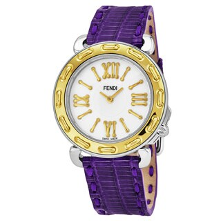 Fendi Women's 'Selleria' Mother of Pearl Dial Purple Leather Strap Swiss Quartz Watch