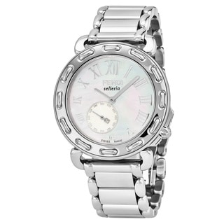 Fendi Women's F81034H.BR8653 'Selleria' Mother of Pearl Dial Stainless Steel Small Seconds Swiss Quartz Watch