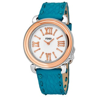 Fendi Women's F8012345H0.SNB3 'Selleria' Mother of Pearl Dial Teal Blue Leather Strap Swiss Quartz Watch