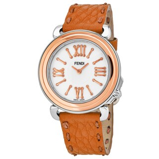 Fendi Women's 'Selleria' Mother of Pearl Dial Orange Leather Strap Swiss Quartz Watch