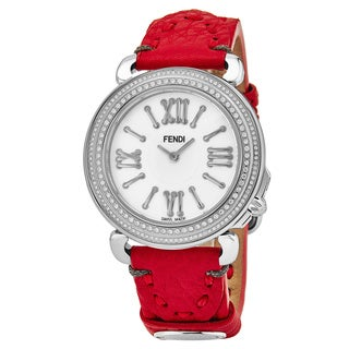 Fendi Women's F8010345H0P0.SK 'Selleria' Mother of Pearl Dial Red Leather Strap Diamond Swiss Quartz Watch