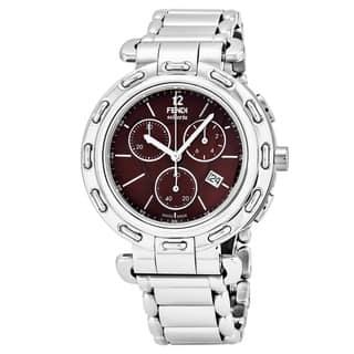 Fendi Women's F89032H.BR8653 'Selleria' Brown Dial Stainless Steel Chronograph Swiss Quartz Watch https://ak1.ostkcdn.com/images/products/17740912/P23943143.jpg?impolicy=medium