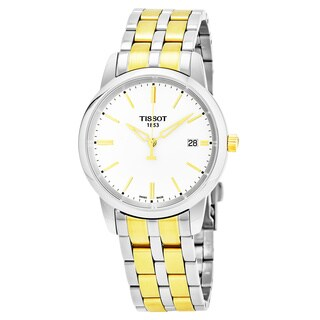 Tissot Men's T033.410.22.011.01 'T-Classic' White Dial Two Tone Stainless Steel Swiss Quartz Watch