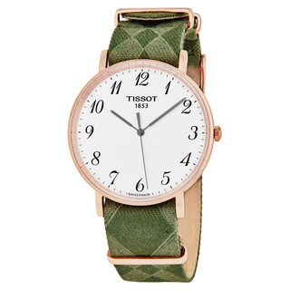 Tissot Men's T109.610.38.032.00 'Everytime' Silver Dial Green Fabric Strap Swiss Quartz Watch