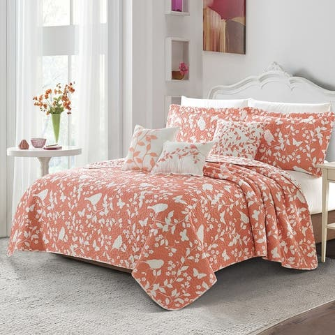 Serenta 6 Piece Birdsong Cotton Blend Quilt Bedspread Coverlet Set
