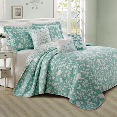 Serenta Birdsong 6-piece Cotton Blend Quilted Bedspread Coverlet Set
